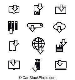 différent, téléchargement, ligne, appareils, icônes