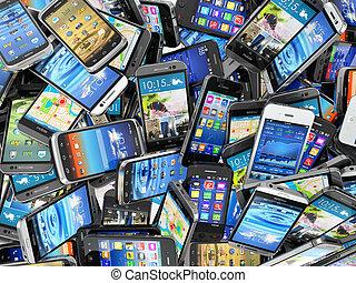 différent, téléphones mobiles, moderne, arrière-plan., tas, ...