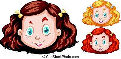 différent, têtes, trois, cheveux, couleurs, girl