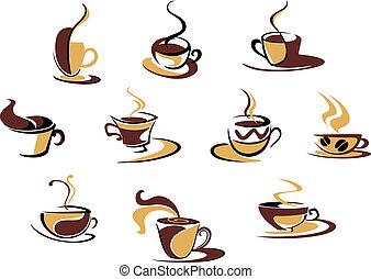 différent, tasses, café