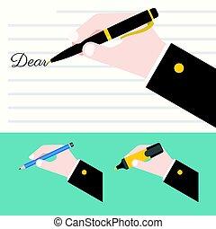 différent, tenant main, stylo, mots, écriture