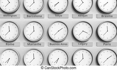 différent, timezones., horloge, animation, buenos, temps, aires, spectacles, argentine, 3d