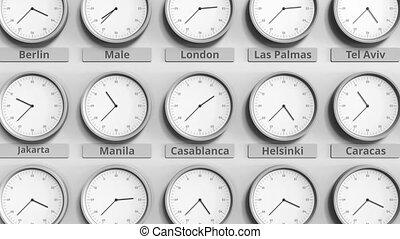 différent, timezones., horloge, casablanca, maroc, animation, temps, spectacles, 3d