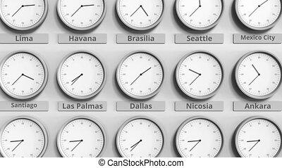 différent, timezones., usa, horloge, dallas, animation, temps, spectacles, 3d