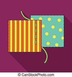 différent, tissus, are, cousu, à, thread.sewing, ou, adapter, outils, kit, unique, icône, dans, plat, style, vecteur, symbole, stockage, illustration.