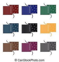 différent, tissus, are, cousu, à, thread.sewing, ou, adapter, outils, kit, unique, icône, dans, noir, style, vecteur, symbole, stockage, illustration.