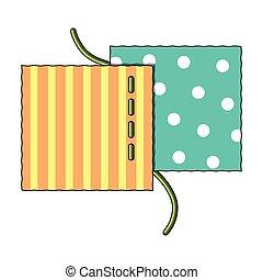 différent, tissus, are, cousu, à, thread.sewing, ou, adapter, outils, kit, unique, icône, dans, dessin animé, style, vecteur, symbole, stockage, illustration.