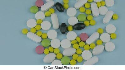 différent, tourner, beaucoup, drugs., rotation, tablettes, médecine, pilules