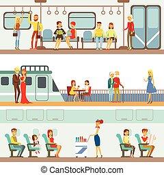 différent, transport, gens, voyageurs, prendre, scènes, avion, ensemble, métro, bateau, sourire, dessin animé, heureux