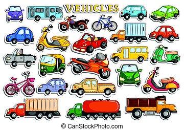 différent, transport, moyens, autocollant, style, véhicule