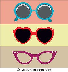 différent, trois lunettes