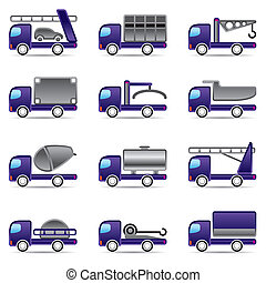différent, types, camions