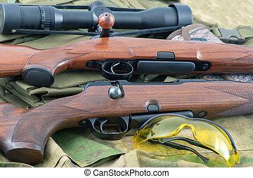 différent, types, de, fusil, fusils