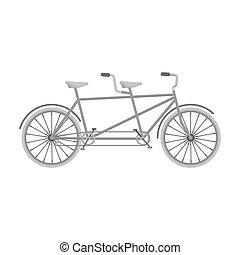différent, vélo, bicycle., style, symbole, double, two., bike., plaisir, icône, vecteur, mode, écologique, tandem, transport., stockage, monochrome, unique, illustration.