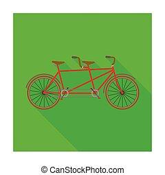 différent, vélo, bicycle., style, symbole, double, two., bike., plaisir, icône, vecteur, mode, écologique, tandem, plat, transport., stockage, unique, illustration.