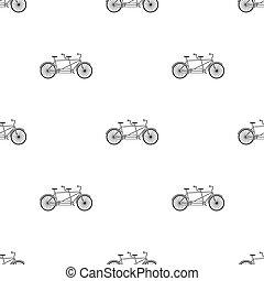 différent, vélo, bicycle., style, symbole, double, two., bike., plaisir, icône, vecteur, mode, écologique, tandem, transport., stockage, unique, illustration., noir