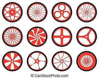 différent, vélo, genres, wheels.