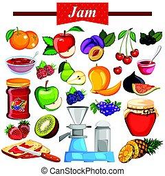 différent, variété, gelée, fruit, confiture, ingrédient