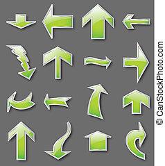 différent, vecteur, arrows., vert