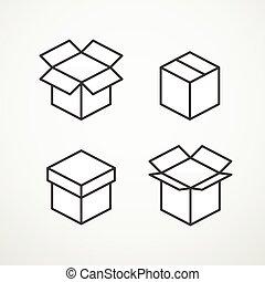 différent, vecteur, boîtes, collection