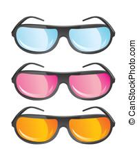 différent, vecteur, couleurs, lunettes