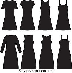 différent, vecteur, dresses., femmes