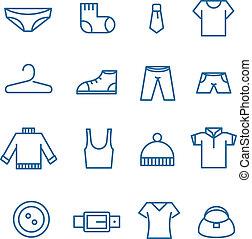 différent, vecteur, silhouettes, collection, vêtements
