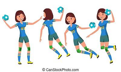 différent, vector., player., athlète, caractère, isolé, illustration, jouer, joueur, attaque, femme, jump., handball, blanc, tir, woman., dessin animé, poses.