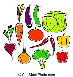 différent, vegetables.