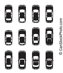 différent, vu, au-dessus, voitures
