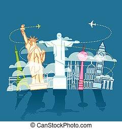 différent, vues, vacances, monde voyager, composition