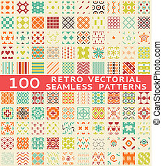 différent, (with, motifs, seamless, swatch)., vecteur, retro