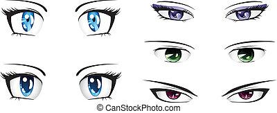 différent, yeux, anime
