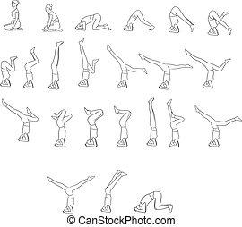 différent, yoga, lignes, isolé, illustration, vecteur, arrière-plan noir, blanc, poses, femmes