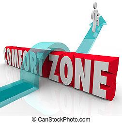 différent, zone, sur, confort, expérience, essayer, dehors, aller, grandir