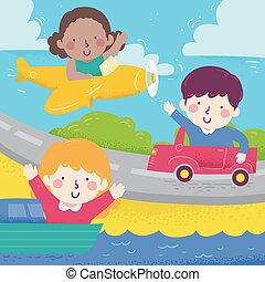 diff, ilustração, onda, crianças, transporte