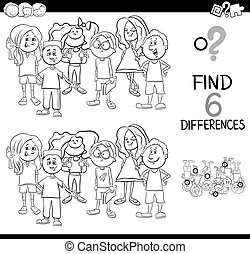 difference activity coloring page - Black and White Cartoon...