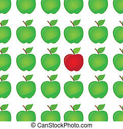 green and red difference apple cartoon isolated over white background. vector