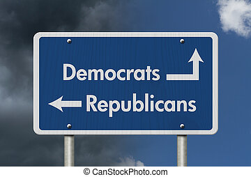 Difference between Democrats and Republicans, Blue Road Sign...