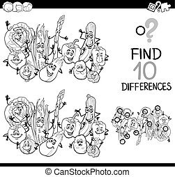 difference game coloring page - Black and White Cartoon ...