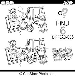 Black and White Cartoon Illustration of Finding the Difference Educational Activity for Children with Kids on Playground Coloring Book