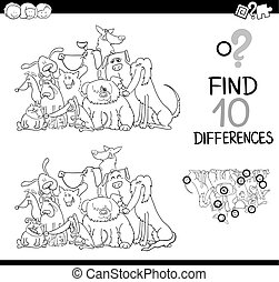 Black and White Cartoon Illustration of Finding Differences Educational Activity for Children with Dog Characters Coloring Page