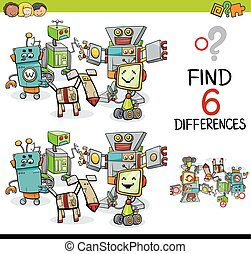 Cartoon Illustration of Finding the Difference Educational Activity for Children with Robot Characters