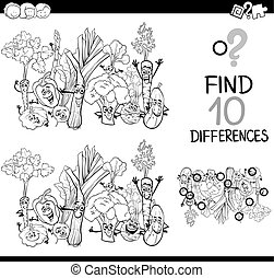 Black and White Cartoon Illustration of Finding Details Educational Activity for Children with Vegetable Characters Coloring Book