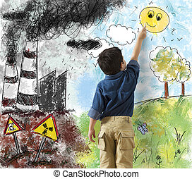 Difference in a landscape - Child draws the difference in a...