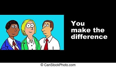 Business cartoon about difference makers inside companies.