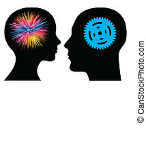 Man and woman have different talents or skills, from artistically to technically; the symbols can easily be interchanged