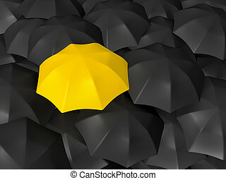 Yellow open umbrella standing out from the crowd, over many dark ones, group of black umbrellas.
