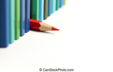 difference - red color pencil different from the others
