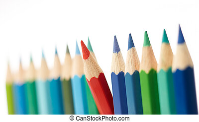 difference - red color pencil stand out from the others